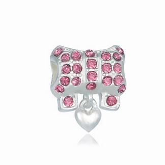 Fits Pandora Charm Bracelet European Charms Beads Silver Plated Bowknot Crystal Colour Loose Charms For Diy European Style Snake Charm Chain