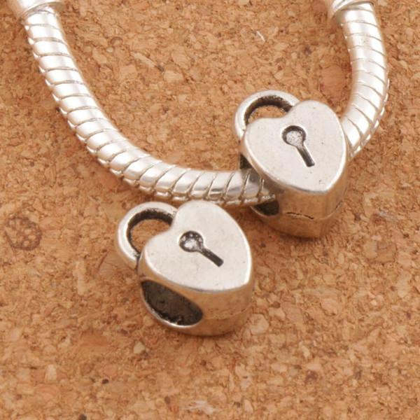 Coeur en alliage métal gros trou perles 100pcs / lot 7.6x12 mm Antique Silver Fit européen Charm Bracelets L1271