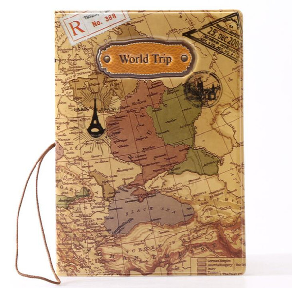 New cool cartoon passport holders for boy men travel passport cover pvc leather-The world map DHL free ship