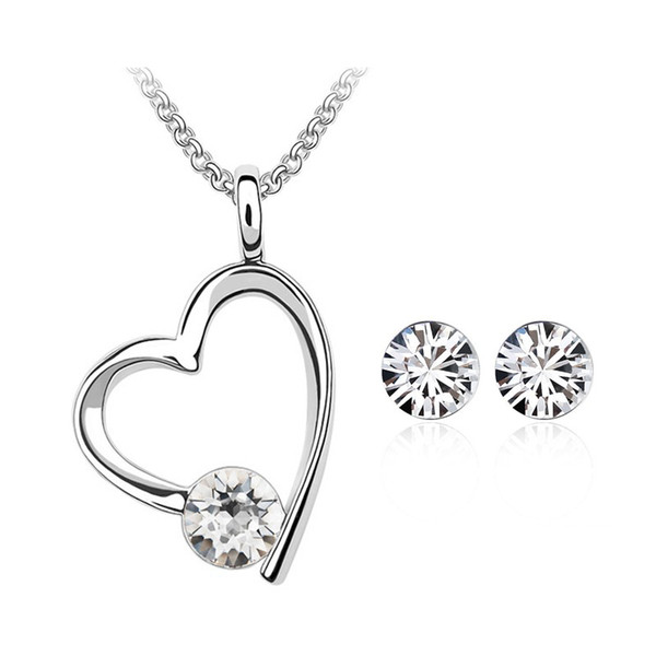 78c86f82c Top Selling Crystal heart necklace earring set for women Made with Swarovski  ELEMENTS for women gift
