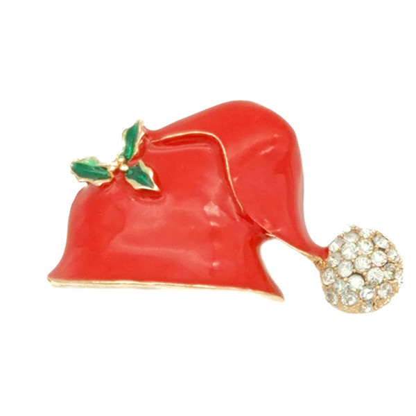 Hot Xmas Gift Christmas Hat Brooches Leaf Flower Rhinestone Red Enamel Santa Cap Brooch Pin Jewelry Wholesale 12 Pcs