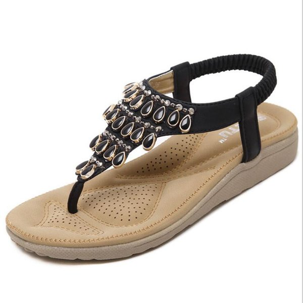 Summer Style Ethnic Women Sandals 2017 Bohemian Fashion Beading Pu Printed Casual Flats For Woman EUR 35-41