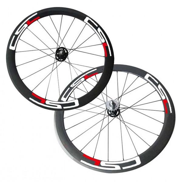 Free Shipping 50mm Clincher track carbon wheelset Flip Flop bike wheels Track Bike Wheels 700C Full Carbon CSC Wheel