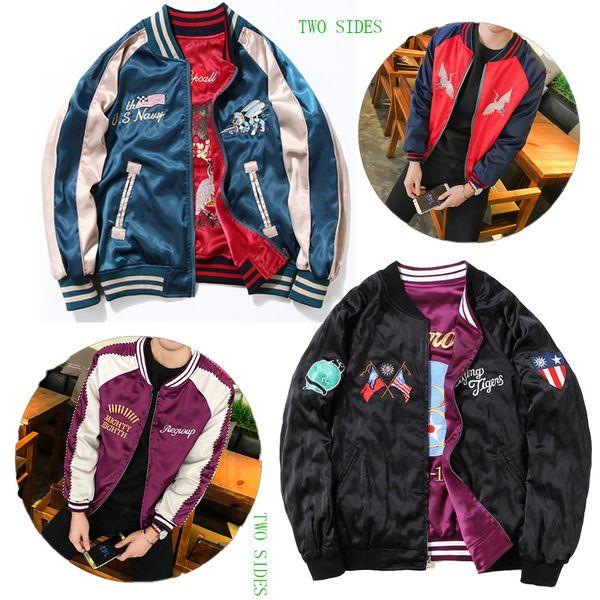 Großhandel XXXL Beiden Seiten Flying Tiger Jacke Polo Military Thailand Adler Tiger Männer Harajuku Stickerei Mäntel Beiden Seiten Souvenir Jacke Von