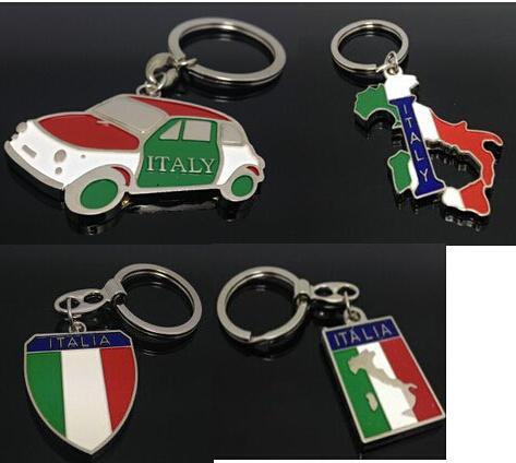 Autozubehör Zubehör personalisierte Italien Taxi Auto Stil Metall Schlüsselanhänger Schlüsselanhänger Italien Flagge Reise Souvenirs Keychain