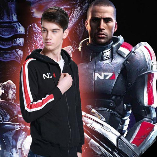 NOUVEAU Mass Effect 3 N7 Cosplay Hoodie Manteau Costume unisexe fermeture à glissière Veste S-XXL sweat