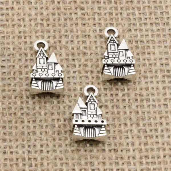 Wholesale 55pcs Charms Tibetan Silver/Antique Bronze Plated castle house 21*11mm Pendant for Jewelry DIY Hand Made Fitting