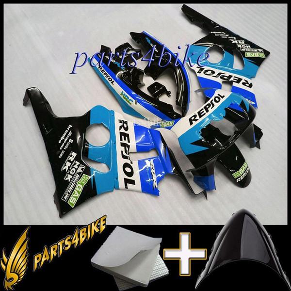 repsol blue motorcycle cowl for HONDA CBR400RR NC29 1990-1994 CBR400RR NC29 90 94 ABS Plastic Fairing