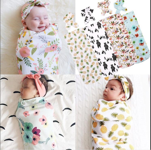 best selling Infant Baby Swaddle Sack Baby Floral Pineapple Blanket Newborn Baby Soft Cotton Cocoon Sleep Sack With Matching Knot Headband 2Pcs Set 10 St