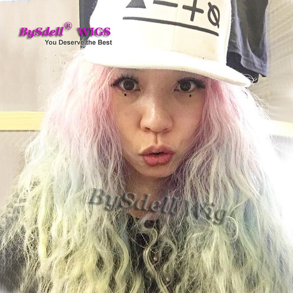 Beautiful Ombre Color Water Beach Curly Hair Wig Synthetic Heat Resistant Pastel Hair None Lace Wig Lace Front Wigs Pink Blue Green Cheap Wigs Uk