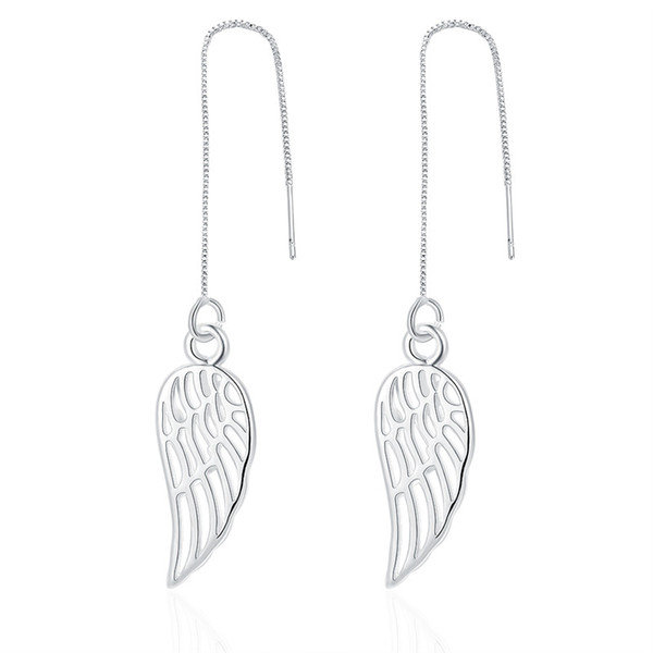Classical Style Women Silver Plated Brass Long Box Chain Angel Wing Charm Threader Earring Free Shipping