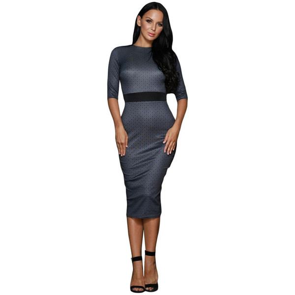 2017 New Pattern Round Neck Fivepence Sleeve Belt Wave Point Printing Self-cultivation Vent Overknee Longuette Dress models Polka Dot Women