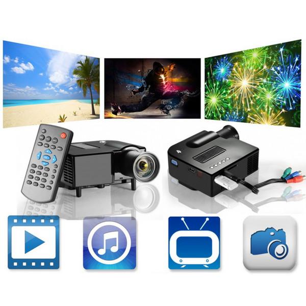 Wholesale-UC28 Portable 3D Mini Multimedia LED Projector Cinema Theater Support PC&Laptop With VGA/USB/SD/AV/HDMI Input Mini Pocket Beamer