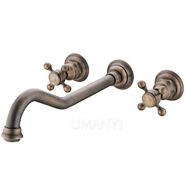 Bathroom Basin Faucets Antique Brass Brushed Bronze 2 Handle Wall Mounted Hot Cold Mixer Toilet Sink Taps Wholesale and Retail ABMPL005-1