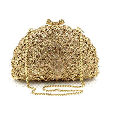 XIYUAN Luxury Clutch Bag Women Diamond Peacock Feather Evening Hand Bags Noble Crystal Dinner Party Purse Chain Famous bolso