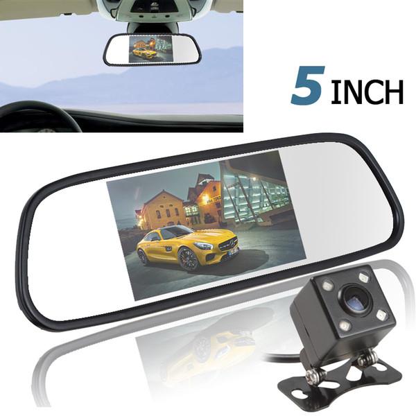 5 Zoll 480x272 Farbe TFT LCD Bildschirm Auto Rückspiegel Monitor + 420 TV Linien 170 Grad Objektiv Nachtsicht Kamera CMO_505