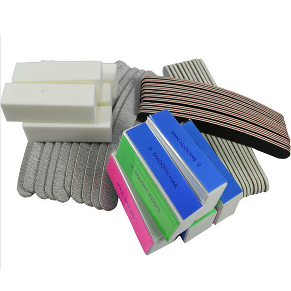 Wholesale- Hot 40pcs Pro Nail Care File Buffer Sanding Block Set Nail Art Shiner Manicure or Pedicure Grit Sandpaper Accessory Tool