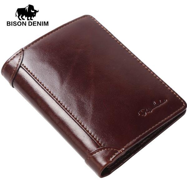 Großhandels-BISON DENIM echtes Ledermappe Männer rot braun Vintage Geldbörse Kartenhalter Marke Männer Brieftaschen Dollar Preis Männlich Geldbörse 4361