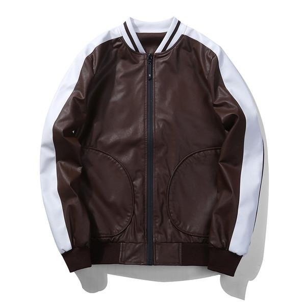 EU Größe 2017 Mode Marke Winter Lederjacke Männer Stehkragen Lederjacke Kontrast Farbe Männer Lether Jacken Und Mäntel
