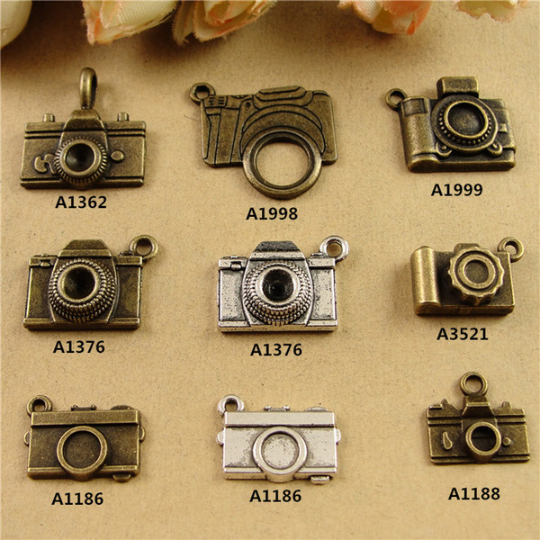 DIY fashion jewelry accessories retro DIY handmade antique bronze camera charms, vintage dangle phone tibetan silver pendant for necklace