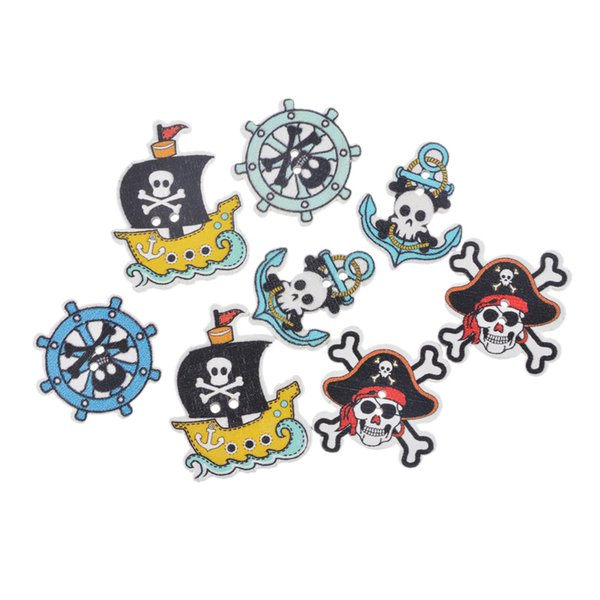 50PCs Mixed Pirate Style 2 Holes Wooden Buttons DIY Scrapbooking Crafts Decoration Sewing Accessories Decorative Buttons