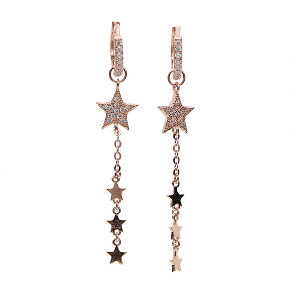 2017 new arrive rose gold plated Star charm dangle chain star with cz hoop two way use Christmas gift star earring