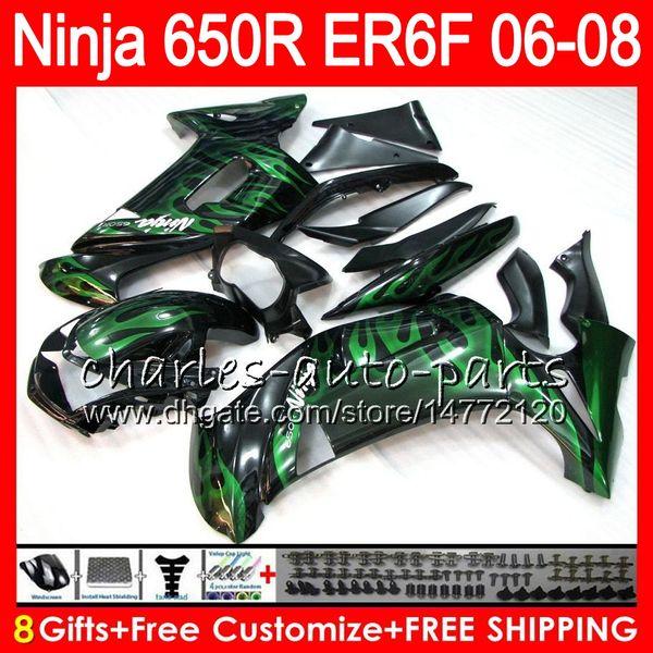 green flames 8Gifts 23Colors Body For KAWASAKI NINJA 650R ER6F 06 07 08 Ninja650R 20NO75 ER 6F 06-08 ER6 F ER-6F 2006 2007 2008 Fairing Kit