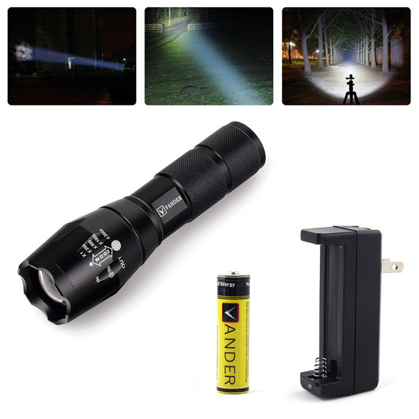 New Vander 2000LM 5 Mode Zoomable LED Flashlight LED Torch High Power With Charger Focus flashlight torch