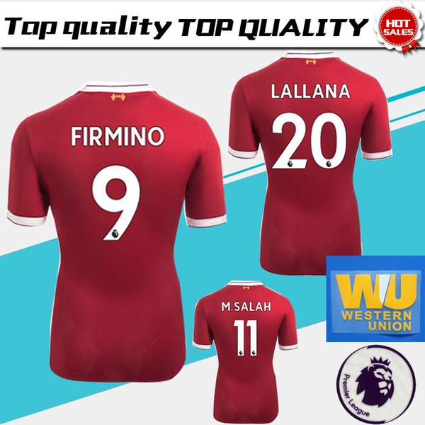 b349f65e2  10 COUTINHO home red Soccer Jersey 17 18  11 M.SALAH soccer shirt 2018   9  FIRMINO  19 MANE Football uniforms have Premier League patches