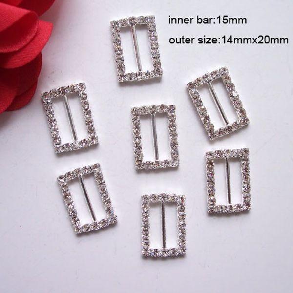 (J0021) 15mm iç bar, dikey çubuk ile yapay elmas tokaları, 100 adet / grup, CPAM ücretsiz, gümüş kaplama