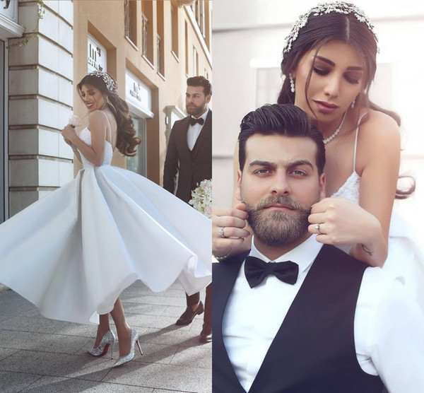 Arabic White Tea Length Prom Dresses 2017 Sexy Spaghetti Straps V-neck Backless Custom Made Formal Evening Cocktail Party Gowns