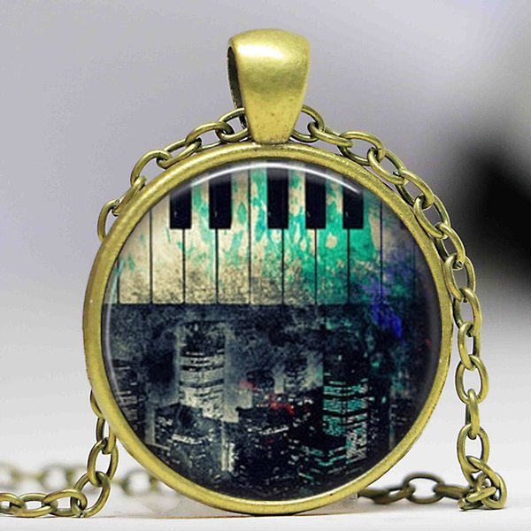 Free shipping Hot Fashion Rustic Piano New York City Necklace,Piano Jewellery,Piano Accessory glass dome cabochon necklace