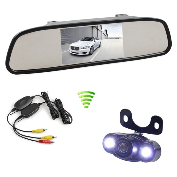 Wireless 4.3inch LCD Display Rear View Mirror Monitor Car Monitor LED Car Camera Parking Assistance System