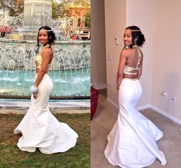 Custom Made Two Pieces Mermaid Prom Dresses 2017 Halter Sleeveless Backless Sweep Train Long Chiffon with Golden Crystals Evening Gowns