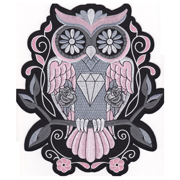 Fashion Night Owl PINK BACK EMBROIDERED Flight Suit PATCH MOTORCYCLE BIKER PATCH IRON ON VEST JACKET Bird of Minerva Badge Free Shipping