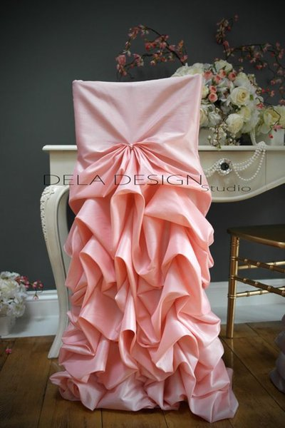Chic Custom Made 2017 Pink Draped Taffeta Chair Covers Vintage Romantic Chair Sashes Beautiful Fashion Wedding Decorations