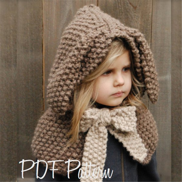 Girls Tippet Cute Bunny with Bow Kids Knitting Cappa Baby Girl Winter Hat with Rabbit Ears Bowknot Children Adorable Cloak Gray