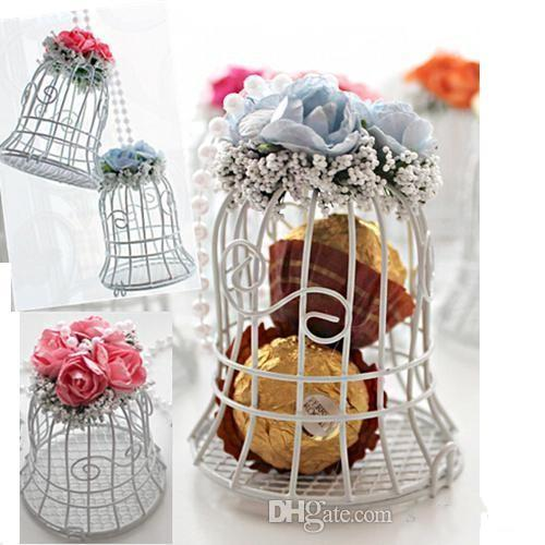 2017 New Wedding Favor Boxes White Metal Bell Birdcage Shaped with Flower for Wedding Party baby shower Supplies