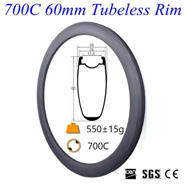 Hot Sale Full Carbon Road Bike Rims 700C 60mm Depth 23mm Width Tubeless 3K UD 12K Carbon Bicycle Rim 16-32 Holes For Choice