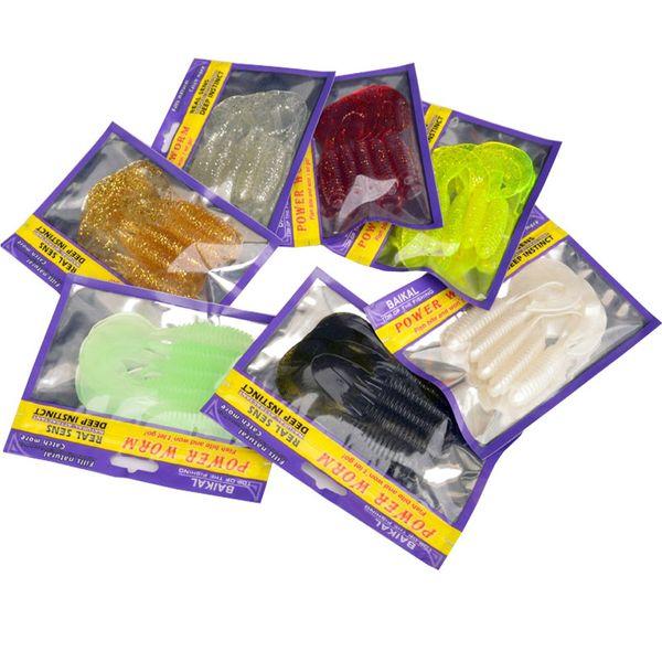 Fishing Soft Lure Bait 10cm Single Tail Grub 5 Pieces Bag Bighead Fish Fresh&Salt Water Catch