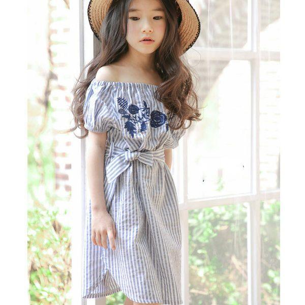 Floral Embroidered Girls Dress 2017 Summer Off Shoulder Girls Costume for Kids Clothes Strip Little Teenage Girls Princess Dress