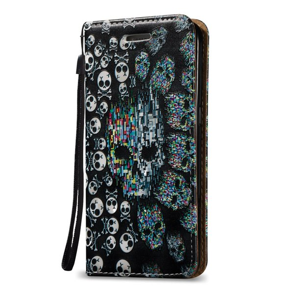 Case For Samsung Galaxy J5 J7 Note3 Note4 Note5 S7 S7 Edge 3D Waterproof Magnetic Close Shell PU Leather Stand Wallet Card Slots Rope Cover
