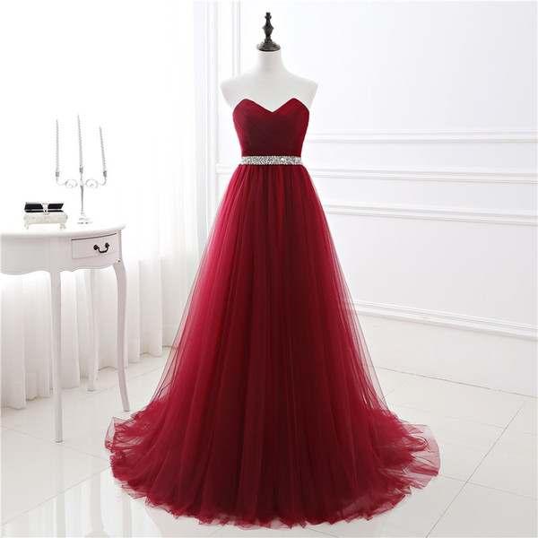best selling New In Stock A-line Soft Tulle Dark Red Prom Dress Hand Beading Sexy Evening Gowns Bandage Long Party Dress vestido de fest