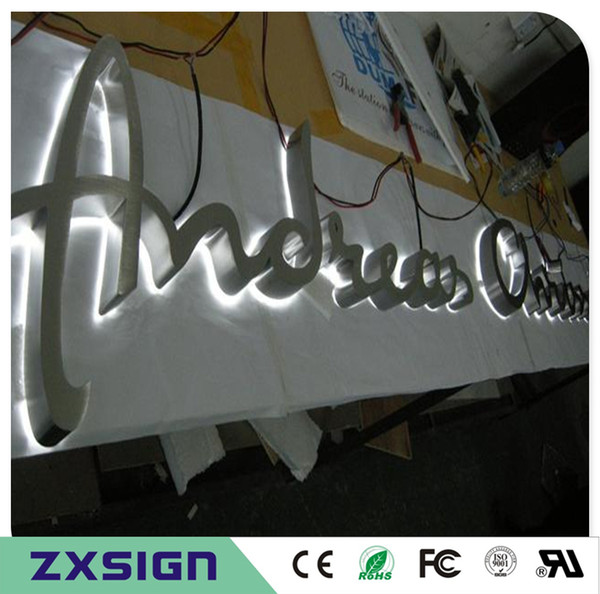 Factory Outlet Outdoor 304# brushed mirror polished stainless steel back lit LED channel letter,metal letter lighted shop front name signs