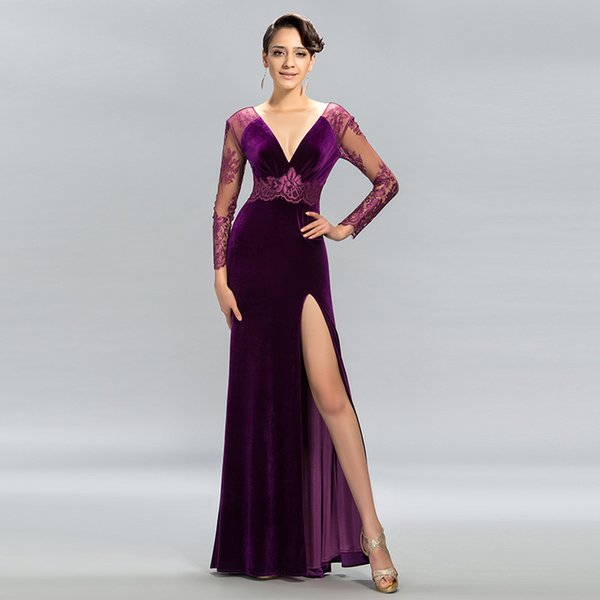 2017 Purple Sheath Deep V Neck Long Prom Dresses Long Sleeve Split ...