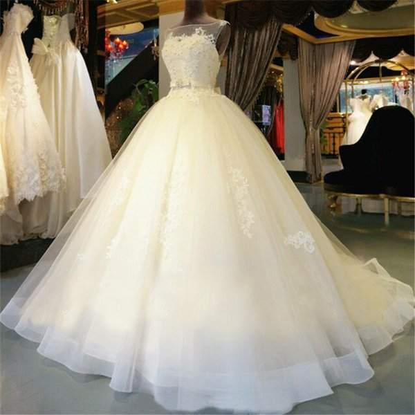 Ivory Ball Gown Real Photos Scoop Illusion Lace Appliques Sashes With Crystal Tulle Bridal Gowns Sexy Back Chapel Train Beaded Wedding Dress