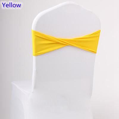 Yellow colour spandex sashes lycra sash for chair cover spandex bands bow tie For Wedding Decoration banquet design for sale