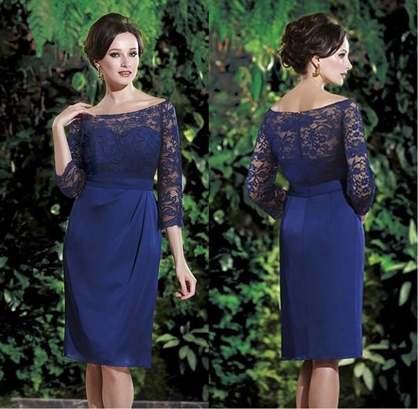 Garden Sheath/Column Bateau Neckline 3/4 Sleeves Blue Mother Of The Bride Dresses Knee Length Chiffon Plus Size Evening Gowns