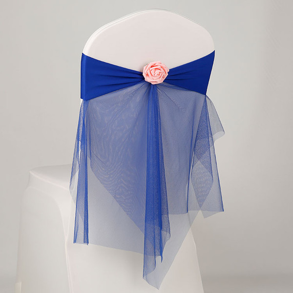 New chair covers 12 colors backtrim decoration elastic ribbon with mesh artificial flowers for wedding party home decoration