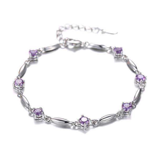 Wholesale-ER Luxury Pure 925 Silver Braslet Purple Stone CZ Tennis Bracelet Amethyst Braclet for Women Pulcera Feminina SB026